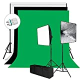 Julius Studio 6 X 9 ft. Background Screen (Black, Green, White) and Softbox Continuous Lighting Kit for Photo Studio, Viedo Shoot Photography, JSAG258