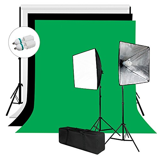 Julius Studio 6 X 9 ft. Background Screen (Black, Green, White) and Softbox Continuous Lighting Kit for Photo Studio, Viedo Shoot Photography, JSAG258 by Julius Studio