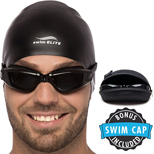 Swimming Goggles Complete Bundle: One Click Premium Silicone Swim Goggles with UV Protection and Anti Fog Technology