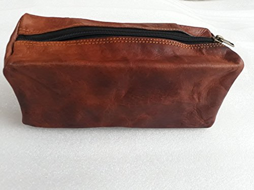 Vintage Leather Zippered Pen Pencil Pouch Gift for Men Women ~ Carry Charcoal Marker Color Brush Bag for Artist Students ~ Craft Tool Kit ~ For College School Office Business Work