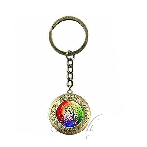 Amazon.com: Árbol Locket Clave Cadena Anillo vidrio cabujón ...