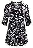 Nandashe Dress Shirts for Women, Females Chic Style Boho Three Quarter Tab Sleeve Notch Collar Flowery Patterned Loose Indian A-line Asymmetrical Hem Tunic Blouses Henley Tops Black White Extra Large
