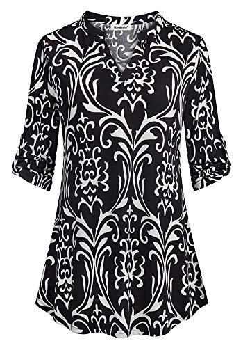 Nandashe Office Shirts for Women Womans Chiffon Tunic Tops High Low Hem Loose Fit V Neck Blouses Shirts for Work Business Casual Tops 3/4 Sleeve Fall Shirts for Leggings Black XX-Large by Nandashe
