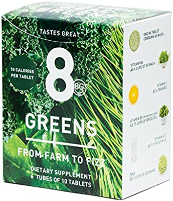 8Greens Effervescent Super Greens Dietary Supplement - 8 Essential Healthy Real Greens in One (6 Tubes / 60 Tablets)