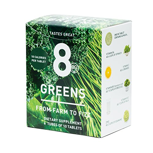 8Greens Effervescent Super Greens Dietary Supplement - 8 Essential Healthy Real Greens in One (6 Tubes / 60 Tablets) by 8G (Image #1)