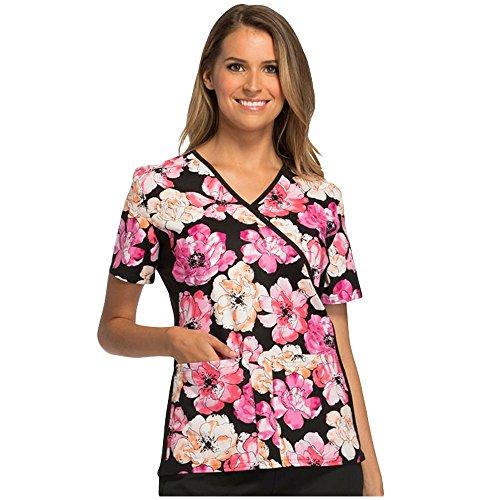 100% Cotton Scrub Top (Cherokee Flexibles Women's Mock Wrap Floral Print Scrub Top Large Print)