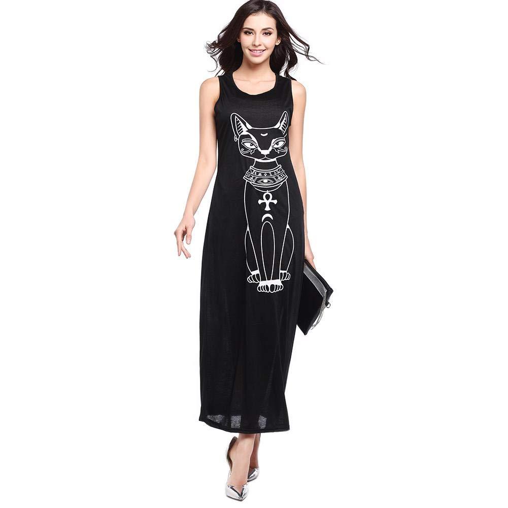 cd876bedfab7 BEBIG Casual Boho Summer Women Sleeveless Long Shaper Beach Dress Cat Print  Loose Basic Style Bodycon Maxi Dress (Black XXL): Amazon.in: Clothing & ...