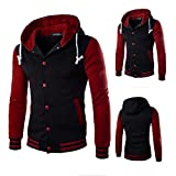 Mens Shirt,Haoricu Autumn Winter Men Teens Slim Fit Hoodie Sweatshirt Winter Long Sleeve Coat Jacket (M, Red) Reviews