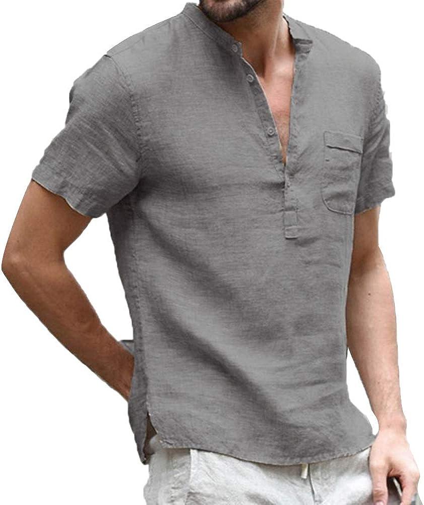 acelyn Camicia da uomo in lino a maniche corte in cotone estivo casual Henley T Shirt Loose Fit S-XXL