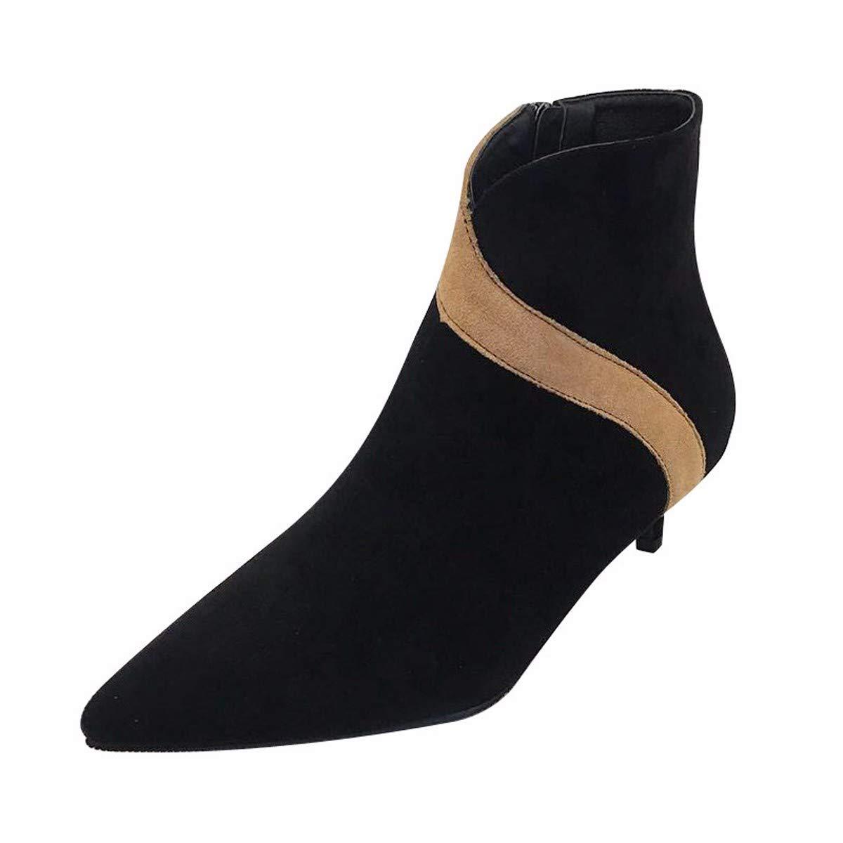 HBDLH Scarpe da Donna dei Colorei con Un Alto 4Cm Sharp Testa Sottile Tacco Tacco Medio Camoscio Basso A Breve Gli Stivali .36 nero