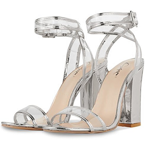 JSUN7 Women's Shiny Sandals with Clear Ankle Strap Sexy Open Toe Summer Shoes Strappy High Chunky Heels -