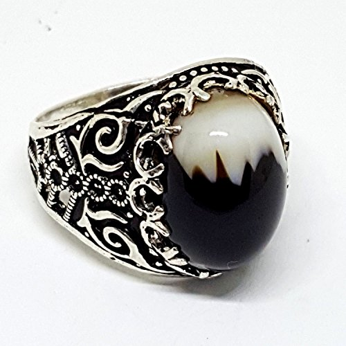 handmade akik 925 sterling silver men ring natural black agate aqeeq stone