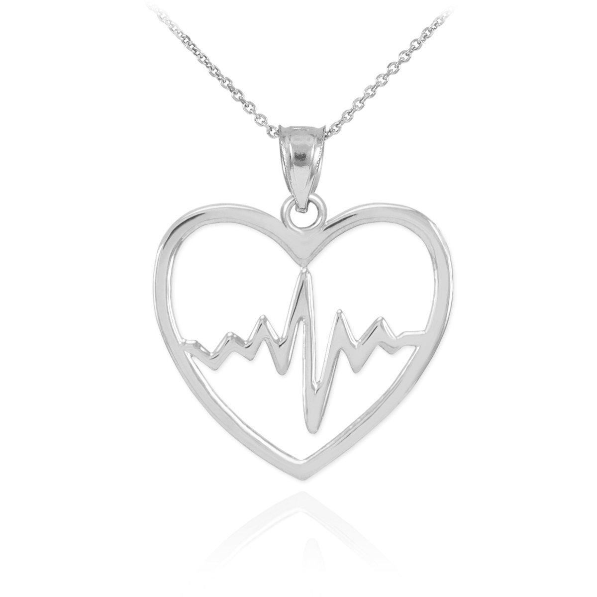 925 Sterling Silver Lifeline Pulse Heartbeat Charm Open Heart Pendant Necklace