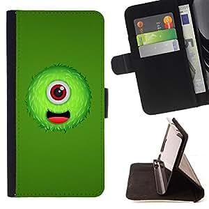 BullDog Case - FOR/Samsung Galaxy Note 4 IV / - / Green One Eyed Monster /- Monedero de cuero de la PU Llevar cubierta de la caja con el ID Credit Card Slots Flip funda de cuer