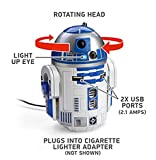 ThinkGeek Star Wars R2-D2 USB Car Charger - Rotating Head, Light Up Eye, 2 x USB Ports, Plugs Into Cigarette Lighter Adapter