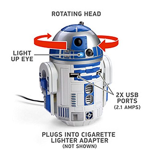 ThinkGeek Star Wars R2-D2 USB Car Charger - Rotating Head, Light Up Eye, 2 x USB Ports, Plugs Into Cigarette Lighter Adapter by Star Wars