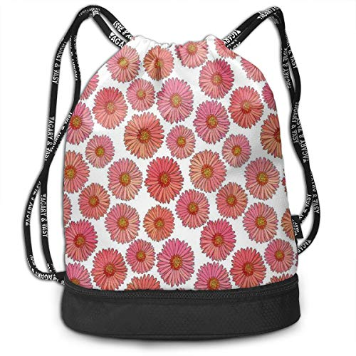 - Fashion Gym Gift Printed Drawstring Backpacks Bags,Pink Blooms Flower Field Essence Fragrance Mother Nature Tropical Flourish,Adjustable String Closure For Men And Women
