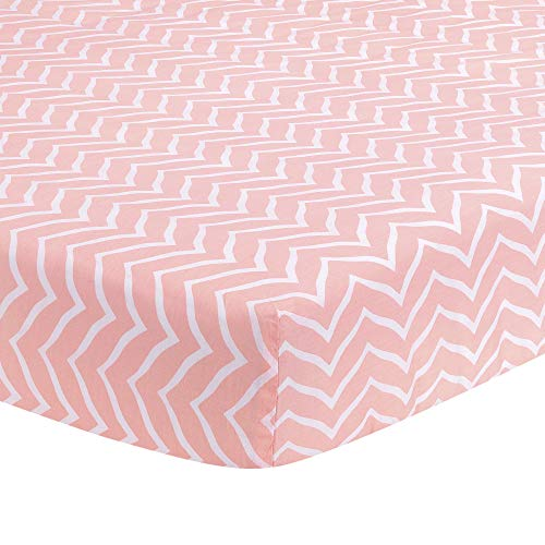 Lambs & Ivy Sweet Owl Dreams Pink/White Chevron Baby/Toddler Fitted Crib Sheet