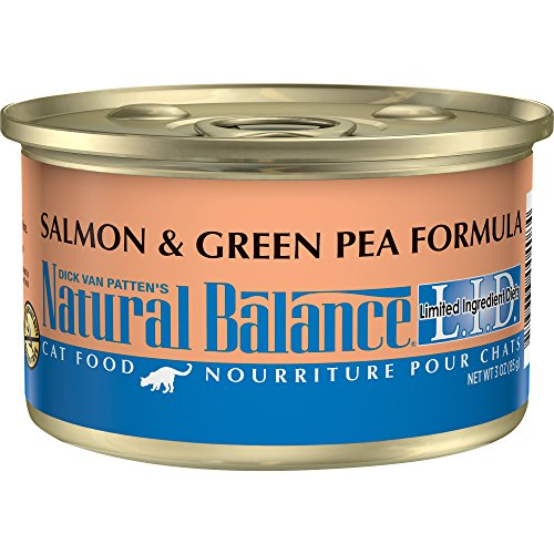 Natural Balance L.I.D. Limited Ingredient Diets Canned Wet Cat Food, Grain Free, Salmon & Green Pea Formula, 3-Ounce Can (Pack Of 24)