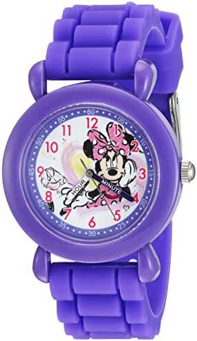 Disney Girl's 'Minnie Mouse' Quartz Plastic and Silicone Casual Watch, Color:Purple (Model: WDS000139)