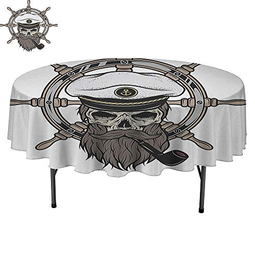 Simple Modern Round table-40Inch-Daily use, Wedding, Restaurant.Captain Pirate Skull in Sailor Hat with Beard and Pipe Nautical Theme Brown White Grey.
