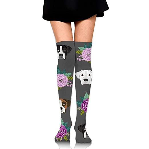86fcefb830a7d Thigh high socks Boxer Dogs and Flower Unisex Compression Socks Knee High  Sock for Running,