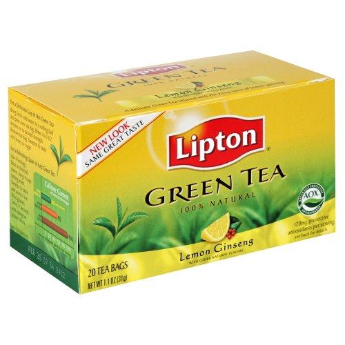 Lipton Tea Green Tea Lemon Ginseng, 20-count (Pack of6)