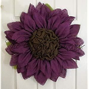 Extra Large 30″ Rich Dark Purple Burlap Sunflower Wreath by The Crafty Wineaux™