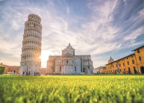 (DaShan 5x3ft Photography Backdrop Leaning Tower Pisa Cathedral Green Grass Field Sunshine Luxurious Palace Photo Background Backdrops Photography Video Party Newborn Kids Baby Photo Studio Props)