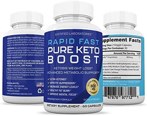 Rapid Fast Pure Keto Boost Pills Advanced BHB Ketogenic Supplement Exogenous Ketones Ketosis for Men Women 60 Capsules 1 Bottle 6