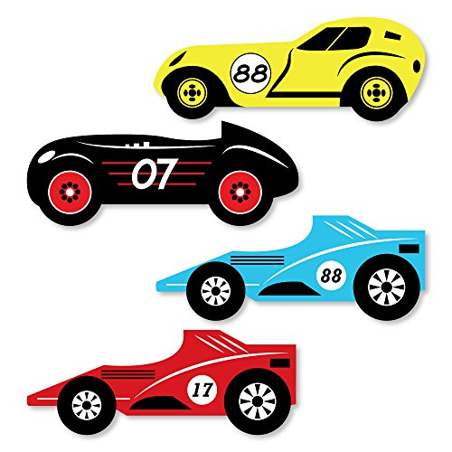 Big Dot of Happiness Let's Go Racing - Racecar - DIY Shaped Race Car Birthday Party or Baby Shower Cut-Outs - 24 Count