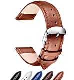 Quick Release Leather Watch Band, SONGDU Full Grain Genuine Leather Replacement Watch Strap with Stainless Metal Buckle Clasp 18mm, 20mm, 22mm (20mm, Light Brown)