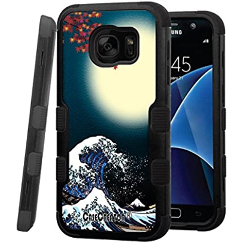 Galaxy S7 Case, CASECREATOR[TM] For Samsung Galaxy S7 / G930 (All Carrier)~NATURAL TUFF Hybrid Rubber Hard Snap-on Case Black Black-Big Wave and Moon Sales