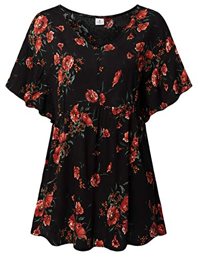 (FANSIC Women Floral Print Tops,Casual Short Sleeve Empire Waist Babydoll V Neck Tunic Blouses Black XX-Large)