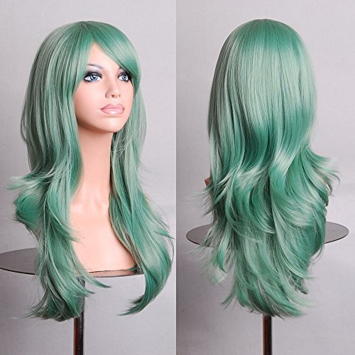 Besgo 70cm 28 Inches New Style Curl Heat Resistance Costume Cosplay Wig Mint Green