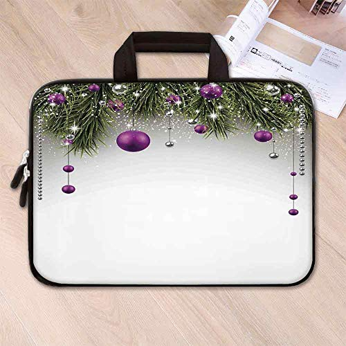 Christmas Decorations Printing Neoprene Laptop Bag,Tree Decorations Tinsel and Ball with Gift Wrap Ribbon Picture for 10 Inch to 17 Inch Laptop,15.4''L x 11''W x 0.8''H