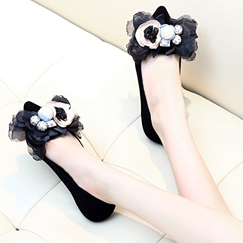 SDKIR-Flat sole pointed female autumn Korean suede bow shallow shoes female tide Thirty-seven black