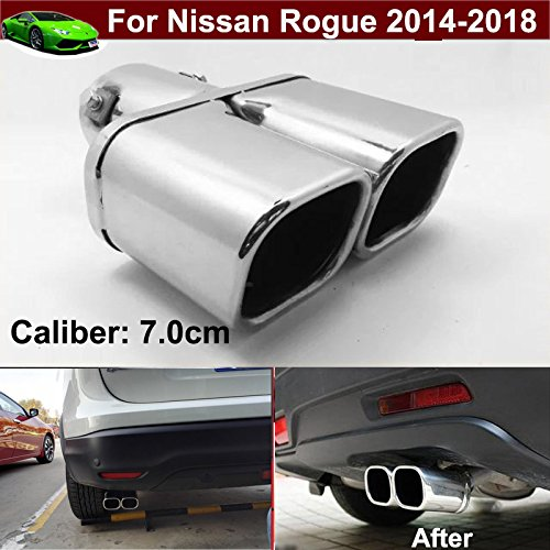 Car Double Outlets Chrome Stainless Steel Exhaust Rear Tail Pipe Tip Tailpipe Muffler Pretector Silver Color Custom Fit For Nissan Rogue 2008 2009 2010 2011 2012 2013 2014 2015 2016 2017 2018 ( not fit for sport model ) KaiTian Auto Part Co. Ltd