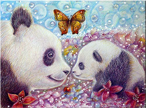 - YUMEART Diamond Embroidery Panda Animal and Crystal Flower Butterfly DIY Diamond Painting Cross Stitch Kits Crafts 5D Diamond Mosaic Pattern