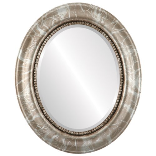 Heritage Champagne (Oval Beveled Wall Mirror for Home Decor - Heritage Style - Champagne Silver - 17x21 outside dimensions)