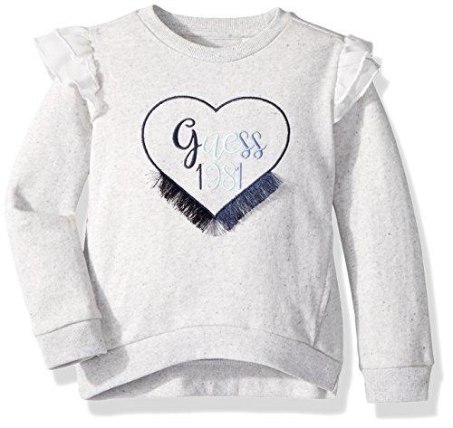 GUESS Girls' Little Long Sleeve Heart Applique Fleece Pullover, Melange, - Applique Pullover