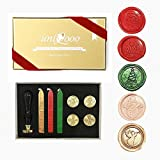 UNIQOOO Arts & Crafts Christmas Wax Seal Stamp Kit, 5 Stamps - Merry Christmas, Santa Claus, Xmas Tree,Snowman, Angel, 3 Wick Wax Sticks-Great for Holiday Decorations, Postcards, Invitations, Gift