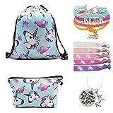 Unicorn Gifts for Girls Drawstring Backpack/Makeup Bag/Bracelet/Necklace/Elastic