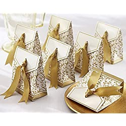 Gold Ribbon Wedding Favor Boxes