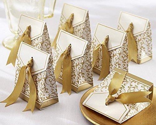 Gold Ribbon Wedding Favor Boxes -