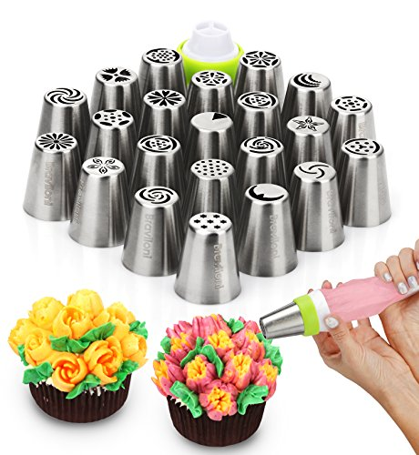 Russian Piping Tips - Cake Decorating Supplies - 39 Baking Supplies Set - 23 Icing Nozzles - 15 Pastry Disposable Bags & Coupler - Extra Large Decoration Kit - Best Kitchen Gift (Art Supplies Easter Gift)