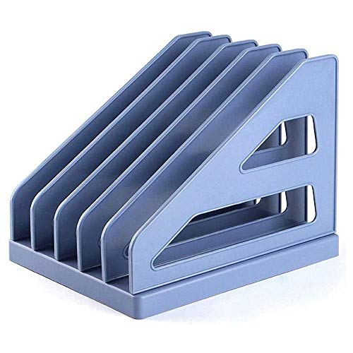 ZOUJUN Desk File and Paper Organizer, Desktop Compartments Trays for Mail Papers Letters Folders and Binders( Blue)