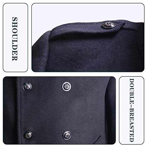 zeetoo Men's Wool Peacoat Winter Buttons Jacket Windproof Classic Pea Coat