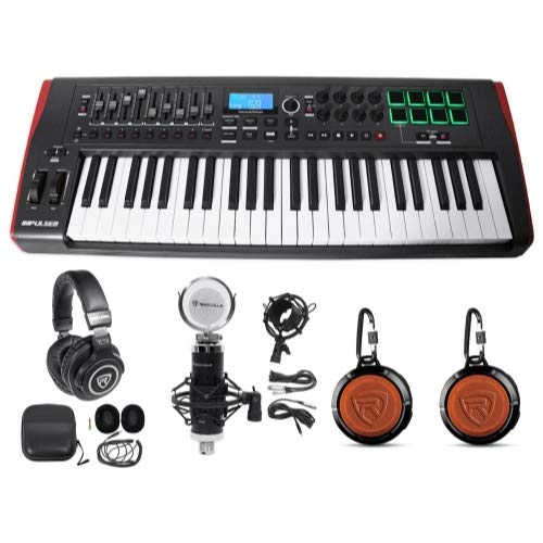 Novation IMPULSE 49Key MIDI USB Keyboard Controller+Speakers+Mics+Headphones