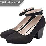 Luoika Women's Wide Width Heel Pump Shoes - Ankle Buckle Strap Round Closed Toe Dressing Shoes. (Black 180320,10WW)
